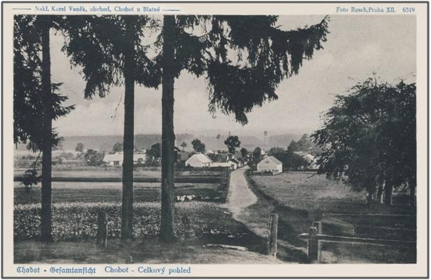 Chobot – celkový pohled kolem roku 1940