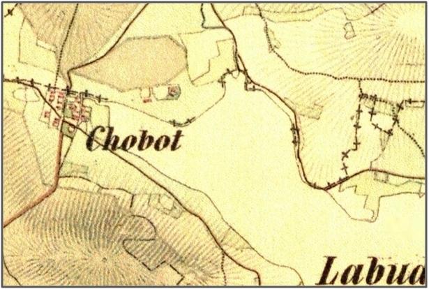 Chobot na mapě druhého vojenského mapování z let 1836 - 1852