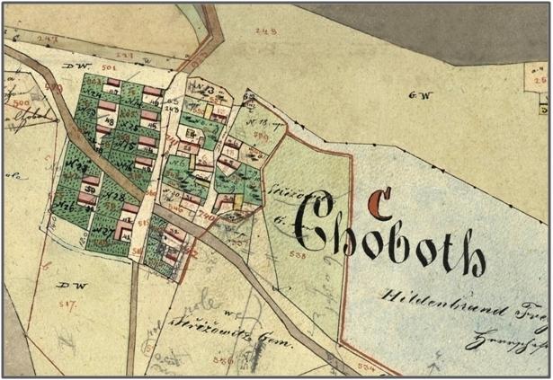 Chobot na pozemkové mapě stabilního katastru z roku 1837. Na této pozemkové mapě jsou uvedena ještě původní čísla popisná, před přečíslováním obce, které proběhlo na počátku 20 století.