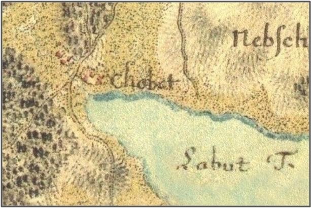 Chobot na mapě prvního vojenského mapování z let 1764 – 1768