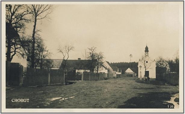 Chobotská náves rok 1930